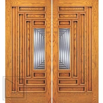 Modern Exterior Double Door, 9 Panel 1 Lite, Solid Mahogany