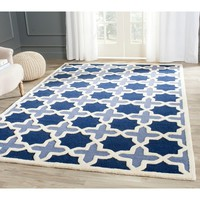 Safavieh Traditional Handmade Cambridge Moroccan Light Blue Wool Rug | Overstock.com Shopping - The Best Deals on 3x5 - 4x6 Rugs