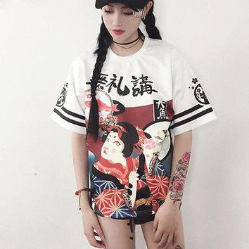 Genki Girl Japanese Street T-shirt Student Teenager Tops Style Exaggerated Printing Loose  Letter Harajuku Cloth