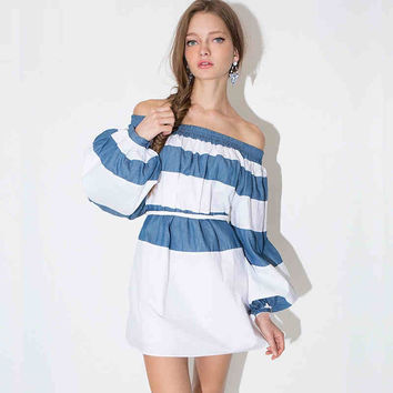 Blue Stripe Off-Shoulder Dress