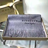 BURBERRY Autumn Winter Popular Women Men Warmer Cashmere Cape Tassel Scarf Scarves Shawl Accessories Grey
