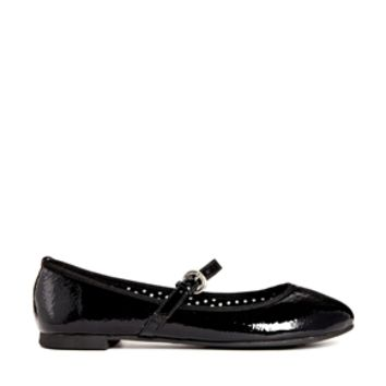 London Rebel Mary Jane Patent Flat Shoes - Black patent
