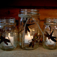 Dragonfly Rustic set of 3 Mason Jars decorated with Rustic, Rusty Dragonflies
