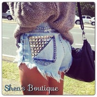 Frayed Shorts with Studs by SheaBoutique on Etsy