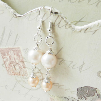 Peach Bridesmaid earrings pearl peach wedding dangles bridesmaid gift prom Europe