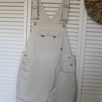 Size 15 Vintage White Khaki Bib Overall Cotton Shorts carpenter hipster 90s style clothes hippie boho bohemian style Womens dungarees