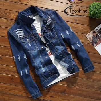 Thoshine Brand 2017 Spring Autumn Men Denim Jackets Male Ripped Hole Jacket Teen Streetwear Clothes Adult Fashion Outwear Coats