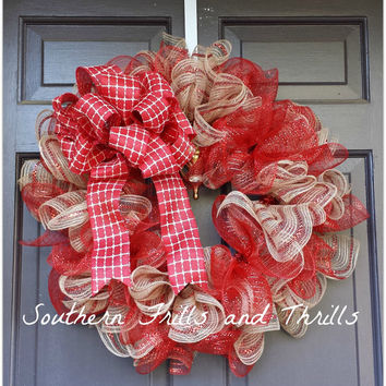 Christmas Wreath, Christmas Decor, Holiday Wreath, Ruffle Wreath, Holiday Decor, Rustic Wreath, Christmas Door Hanger, Burlap Wreath