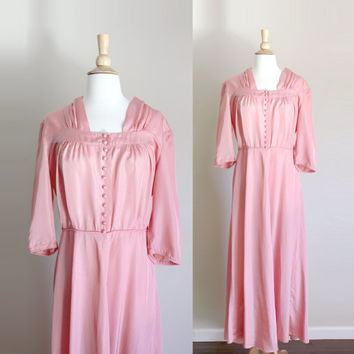 1940s Dusty Pink Evening Gown // Medium