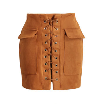 Vintage Lace Up Suede Leather High Waist Short Pencil Skirt in Brown