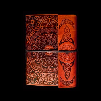 5 x 7 Sun Orange Leather Journal Diary Sacred Symbols Design 280 Blank Pages Handmade Sketchbook with Brass Latch