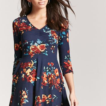 Floral Ruched Knit Dress