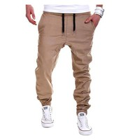 Fashion Mens Joggers Brand Male Trousers Men Pants Casual Solid Loose Pants Sweatpants Jogger khaki Black