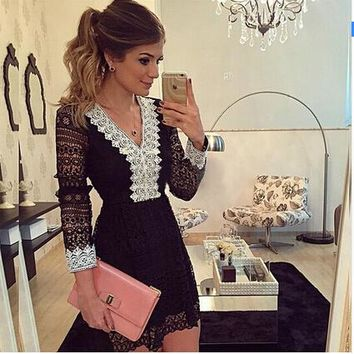 Women A-Line Dress Sexy Black Hollow Out Lace Casual Long Sleeve Mini Dress