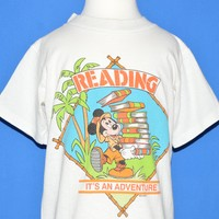 80s Mickey Mouse Reading Is An Adventure t-shirt Youth Small