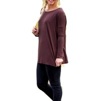 Authentic Piko Long Sleeve Top,  Dark Brown