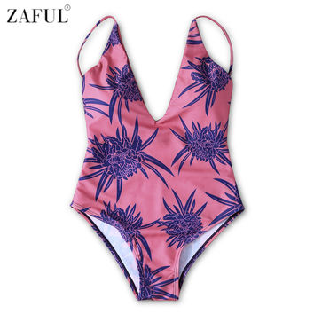 ZAFUL One Piece Swimsuit Women Swimwear Retro Print Plus Size V-Neck Swimwear 2017 Vintage Bathing Suit Swim Monokini Beachwear