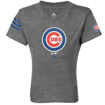 adidas Chicago Cubs Youth Girls Fashion Tri-Blend Logo T-Shirt- Ash - http://www.shareasale.com/m-pr.cfm?merchantID=7124&userID=1042934&productID=520992091 / Chicago Cubs