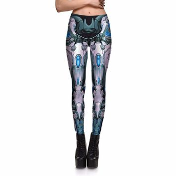 New Women leggings Fitness Machine Deformation Robot Armor 3D Print Leggins for women plus size