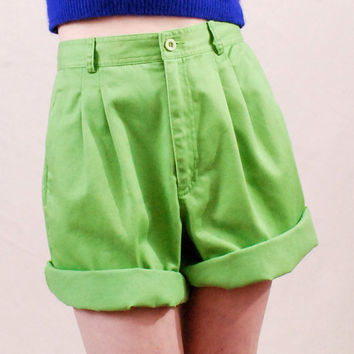 Vintage Shorts 80s High Waisted Shorts Bloomers M/L - pleated bloomers, cuffed shorts, high waist, apple green