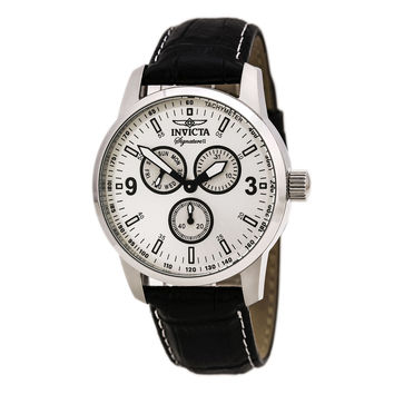 Invicta 7021 Men's Signature II Silver Dial Black Leather Strap Watch