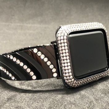 Apple Watch Band 38mm 42mm Womens Mens Black Rhinestone Crystal Series 1 2 3 /Lab Diamond Iced Out Bezel Case Cover Iwatch Bling Smart Watch