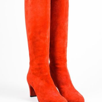 KUYOU Christian Louboutin Red Suede Zip Back  Miss Tack 70  Heel Boots