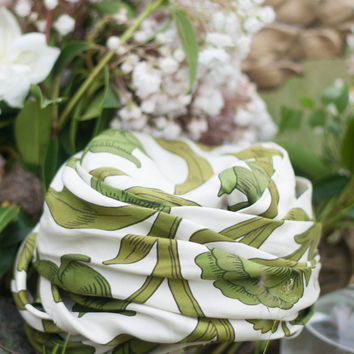 1950's Silk Hat - Turban, Green White Wrap, Mid Century Turban, Nostalgic Retro Chic