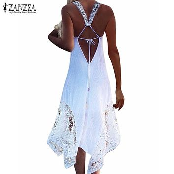 ZANZEA Brand Womem Dress 2017 Summer Sexy V Neck Sleeveless Party Dress Lace Crochet Casual Loose Beach Maxi Long Dress Vestidos