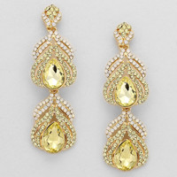 Evening Double Drop Crystal Earrings YELLOW GOLD