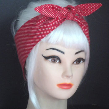 Rockabilly Pin-up Polka dots Red Headband  Headscarf  Wrap Tie Vintage Retro Style 50s