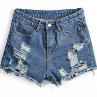 Blue Pockets Ripped Fringed Denim Shorts