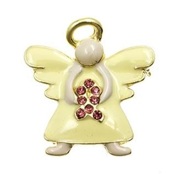 Embracing Angel Breast Cancer Awareness Crystal Stone Pin And Brooch