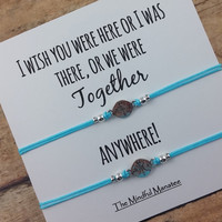 Compass Bracelet Set | Compass Friendship Bracelets | I Wish You Were Here... Card | BFF Gift  |  Travel  Bracelet