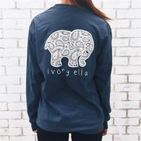 Fashion Women Popular Navy Blue Ivory Ella Cartoon Elephant Printed Floral Printed Long Sleeve Top T-Shirt