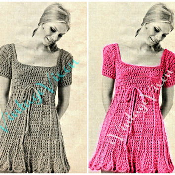 1960s Petal Bottom Dress Empire Square Neck Dress Vintage Crochet Pattern free gift Retro Groovy Dress Pattern Woman Fun Party Vintage Beso