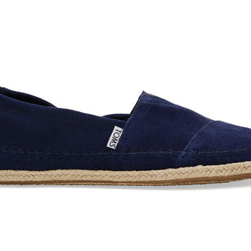 TOMS Navy Suede Rope Sole Men's Classics Blue