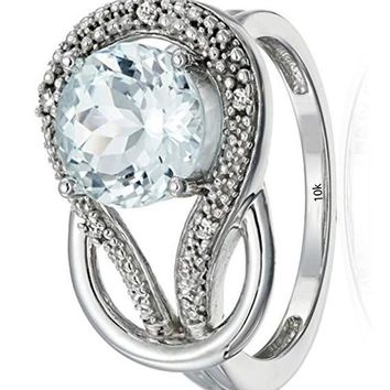 CERTIFIED 1.6 ctw 10k White Gold Gemstone and Diamond Accent Love Knot Ring