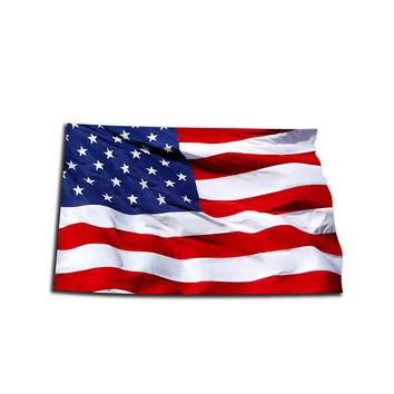 North Dakota Waving USA American Flag. Patriotic Vinyl Sticker