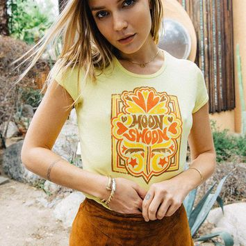 Moon Swoon / Vintage 70s t-shirt / women's 70s t-shirt / graphic tee / ribbed t-shirt / 70s fashion / 70s inspired tee / yellow tee