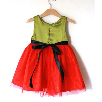 Christmas Dress green and red tutu girl's dress, satin dress, red tutu dress, green, red, black christmas girl dress