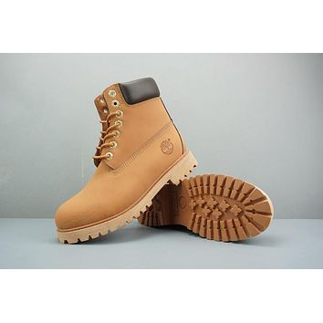 Timberland Leather Lace-Up Boot High Camel Dark Brown
