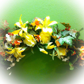 Flower/Floral Swag:  Wall decor in Springtime yellow Roses and Lilies with Peach Snapdragons