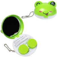 JAVOedge 3D Green Frog Compact Style Contact Lens Travel Kit with Keychain Holder, Mirror, Tweezers
