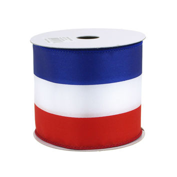 Red Blue White Striped Polyester Ribbon Wired Edge, 2-1/2-Inch, 10 Yards