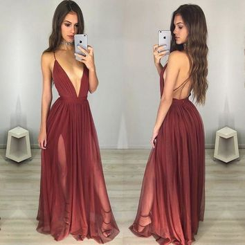 Sexy Maroon Prom Dress - Deep V-neck Long Ruched Backless