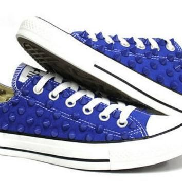 Studded Converse blue stud converse low with custom design blue sneakers CUSTOMDUO on