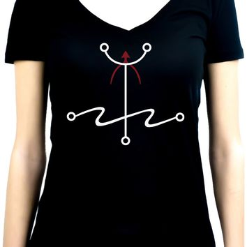 Mark of The Atheist Alchemy Symbol Women's V-Neck Shirt Top Humanist Freethinker Alternative Clothing