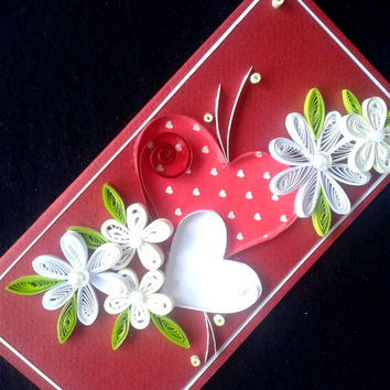 Unique handmade quilling card, Wedding greeting card, Valentine's greeting card, Love you card, Birthday card