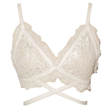 White Strappy Design Lace Bralet